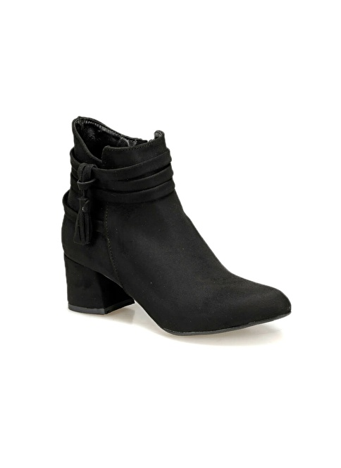 Butigo Kalın Topuklu Süet Bot Siyah
